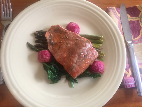 roasted trout asparagus radish